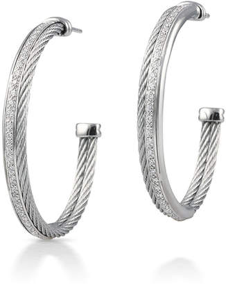 Alor 18k Cable & Diamond Pave Hoop Earrings