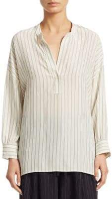 Vince Double Stripe Shirred Silk Blouse