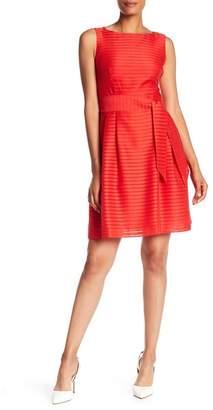 Anne Klein Monochrome Stripe Fit & Flare Dress