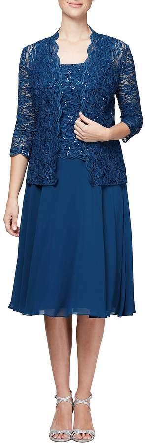 Alex Evenings Mock 2-Piece Lace Jacket Dress