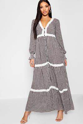 boohoo NEW Womens Plunge Shirred Sleeve Gingham Maxi Dress in Polyester