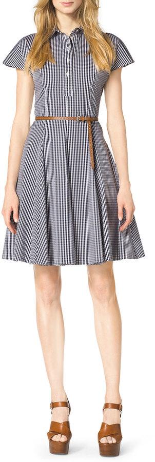 Michael Kors Gingham Check A-Line Shirtdress