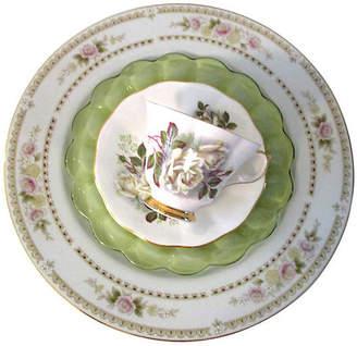 One Kings Lane Vintage White Roses Dinner Set - 4 Pcs - Osprey Blu