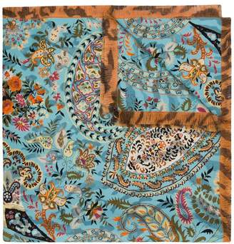 Etro leopard and floral print scarf