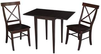 INC International Concepts Small Dual Drop Leaf Table and 2 X-back Chairs in Rich Mocha - Set of 3