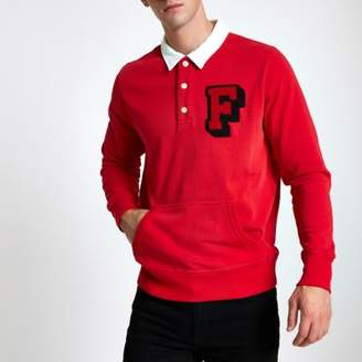 River Island Franklin and Marshall red rugby shirt