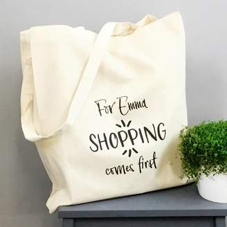 XOXO Personalised 'Shopping Comes First' Tote Bag