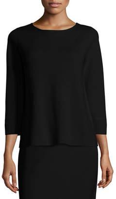 Eileen Fisher 3/4-Sleeve Silk/Cotton Interlock Box Top, Plus Size