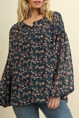Umgee USA Navy-Floral Button-Print Blouse