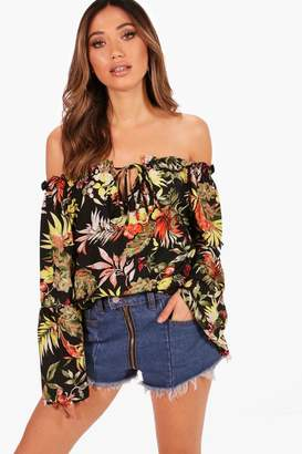 boohoo Floral Woven Off The Shoulder Top