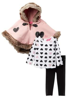 Betsey Johnson Graphic Tee, Faux Fur Trim Cape & Leggings Set (Toddler Girls)