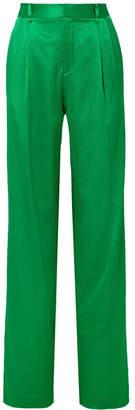 ATTICO Pleated Cotton-blend Satin Wide-leg Pants