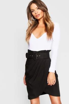 boohoo High Waisted Self Fabric Belt Skirt