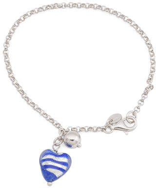 Made In Italy Sterling Silver Murano Glass Heart Bracelet