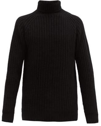 Officine Generale Wide Gauge Knitted Wool Roll Neck Sweater - Mens - Black