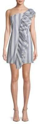 Ruffle Stripe One-Shoulder Cotton Dress