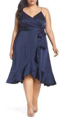 Cooper St Marilyn Satin Faux Wrap Dress (Plus Size)