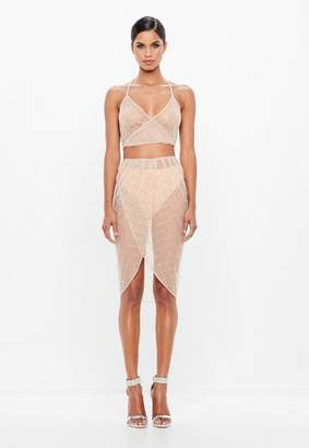 Missguided Nude Diamond Embellished Crop Top