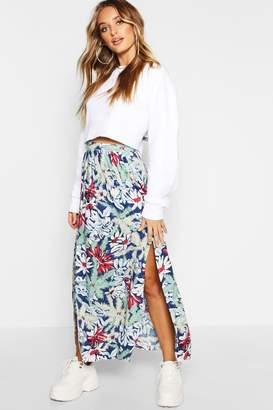 boohoo Christine Floral Print Maxi Skirt