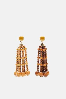 Jacquemus Les Perles Nour Wood Fringe Earrings - Wood