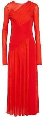 Emilio Pucci Wrap-Effect Paneled Ruched Crepe De Chine Maxi Dress