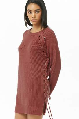 Forever 21 Vented Lace-Up Sweater Dress