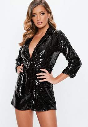 Missguided Black Sequin Blazer Romper