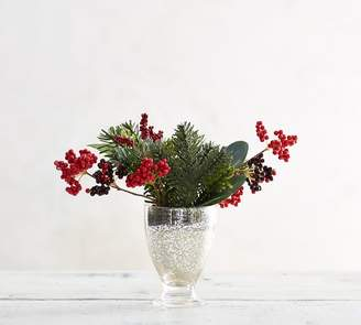 Pottery Barn Faux Composed Berry in Mercury Vase
