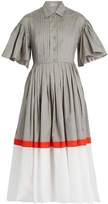 Vika Gazinskaya Tri-colour cotton-poplin dress