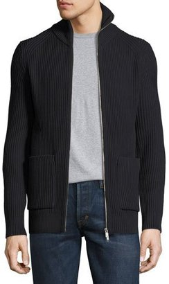 Theory Ronzons LR Barnev Ribbed Zip-Front Sweater, Black $495 thestylecure.com
