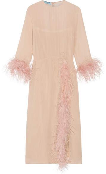 pradaPrada - Feather-trimmed Silk-georgette Midi Dress - Blush