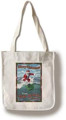 Merry Christmas from Seal Beach, California - Santa Surfing - Lantern Press Artwork (100% Cotton Tote Bag - Reusable)