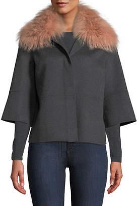 Neiman Marcus Luxury Double Faced Woven Cashmere Kimono Jacket w/ Fox Fur Collar