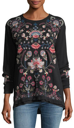 Johnny Was Nindi Embroidered Thermal Pullover $190 thestylecure.com