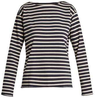 MiH Jeans Simple Striped Cotton Jersey Top - Womens - Blue White