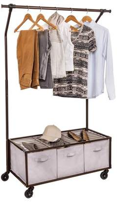 Honey-Can-Do Rolling Garment Rack with 3 bins, Oil-Rubbed Bronze