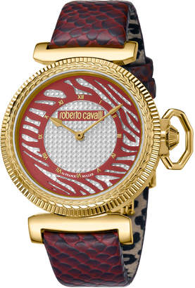 Roberto Cavalli By Franck Muller 38mm Zebra Leather Watch, Burgundy/Gold