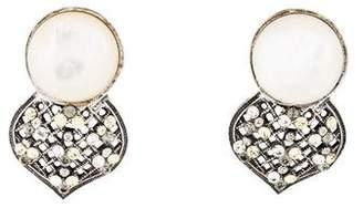 Philippe Ferrandis Faux Pearl & Crystal Clip-On Earrings