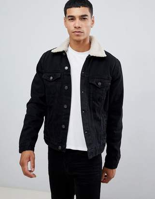 New Look fleece lined denim jacket in washed black