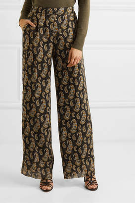 Altuzarra Bani Paisley-print Silk Crepe De Chine Wide-leg Pants - Black