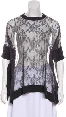 Valentino Knit-Trimmed Lace Top