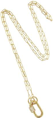 Marla Aaron Diamond Stoned Baby Lock with 18 Inch Square Link Necklace - Yellow Gold