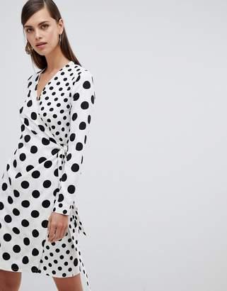 b373f079fbc1 UNIQUE21 Unique 21 polka dot long sleeve wrap dress