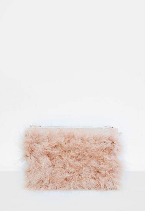 Nude Feather Clutch Bag