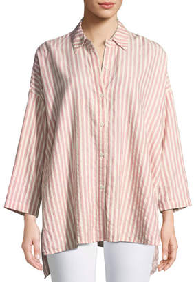 The Great Long-Sleeve Side-Slit Button-Up Cotton Shirt