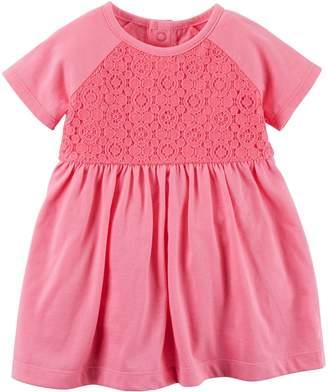 Carter's Baby Girl Crochet Yoke Pink Knit Dress