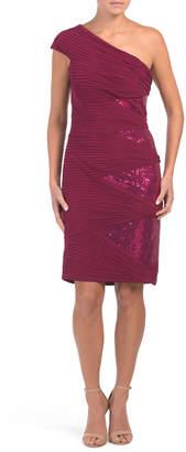 One Shoulder Beaded Pleat Dress