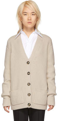Helmut Lang White Distressed Lambswool Cardigan