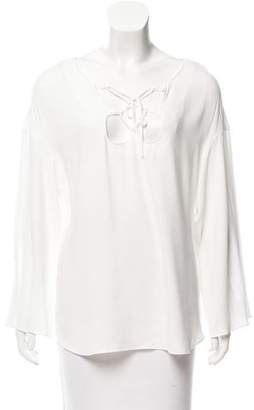 Frame Lace-Up Long Sleeve Top w/ Tags