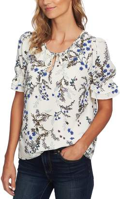 CeCe Floral Vine Ruffle Short Sleeve Top